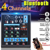 Mini 4 Channels USB Portable Mixer bluetooth MP3 Live Studio Audio DJ Sound Mixing Console Karaoke Computer 48V Phantom Power