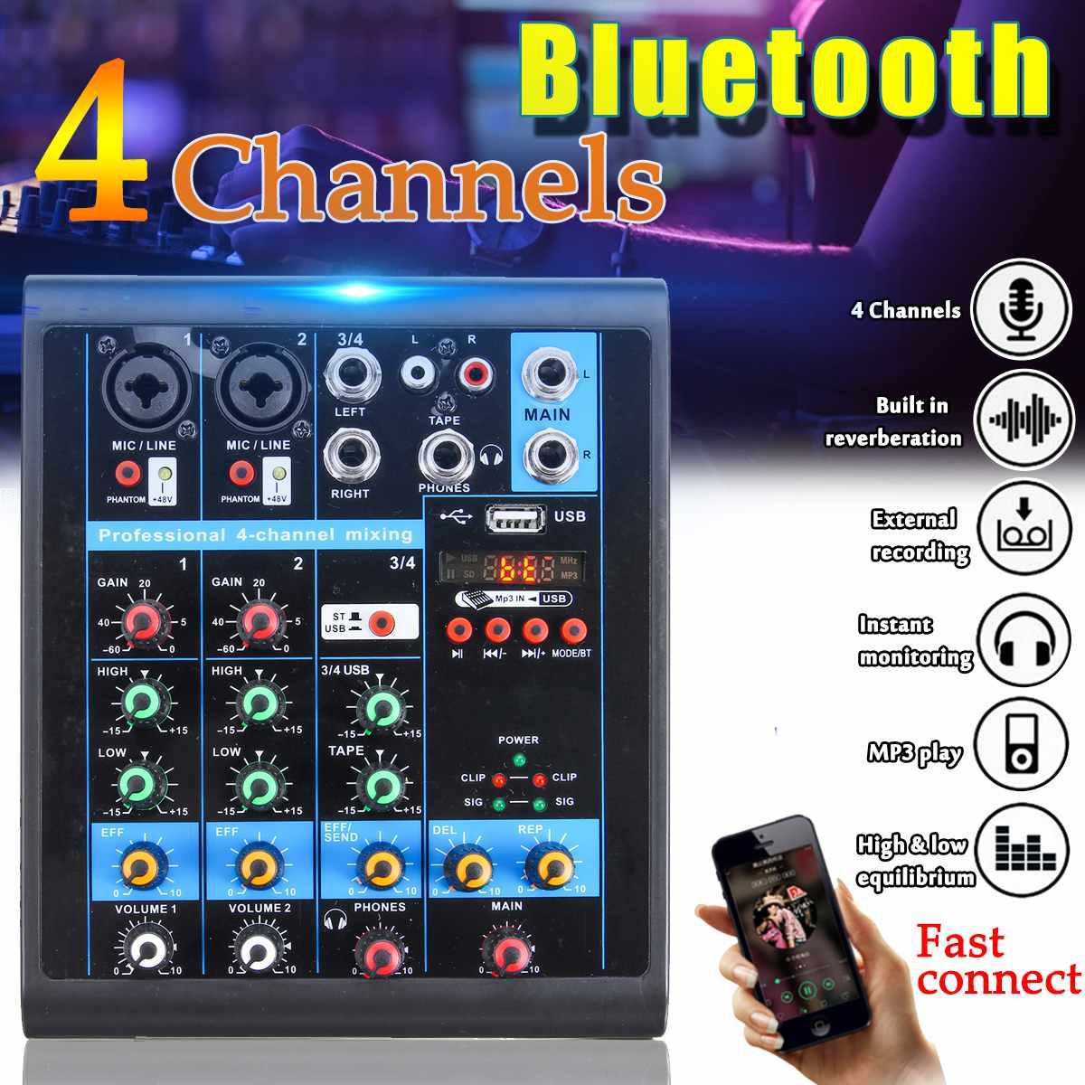 Mini 4 canaux USB Portable mélangeur bluetooth MP3 Live Studio Audio DJ son Console de mixage karaoké ordinateur 48 V alimentation fantôme