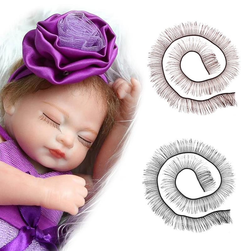 20cm Black Eyelashes For Baby Dolls Cute Piecey Clusters Dolls Accessories Kids Children Toy Doll False Eyelashes