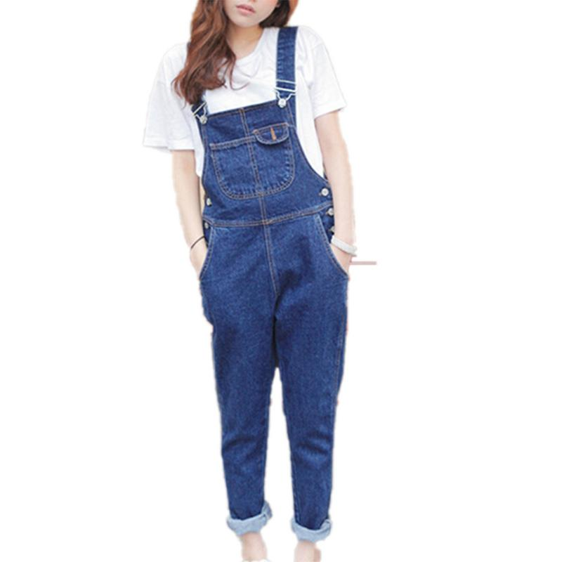 New Arrival Women Ankle Length   Jeans   Women Denim Overalls High Quality Braces Cowboy Dark Blue Basic Overall For 4 Season