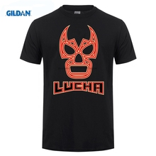GILDAN Customized t shirts Lucha Libre Mask Wrestling WWF Mexican Fight Club Mexico Juarez Texas Cute Grey mens tee