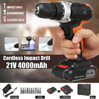 21V Two Speed Lithium Battery Rechargeable Cordless Drill Multi function Impact Electric Drill Electric Cordless Screwdriver