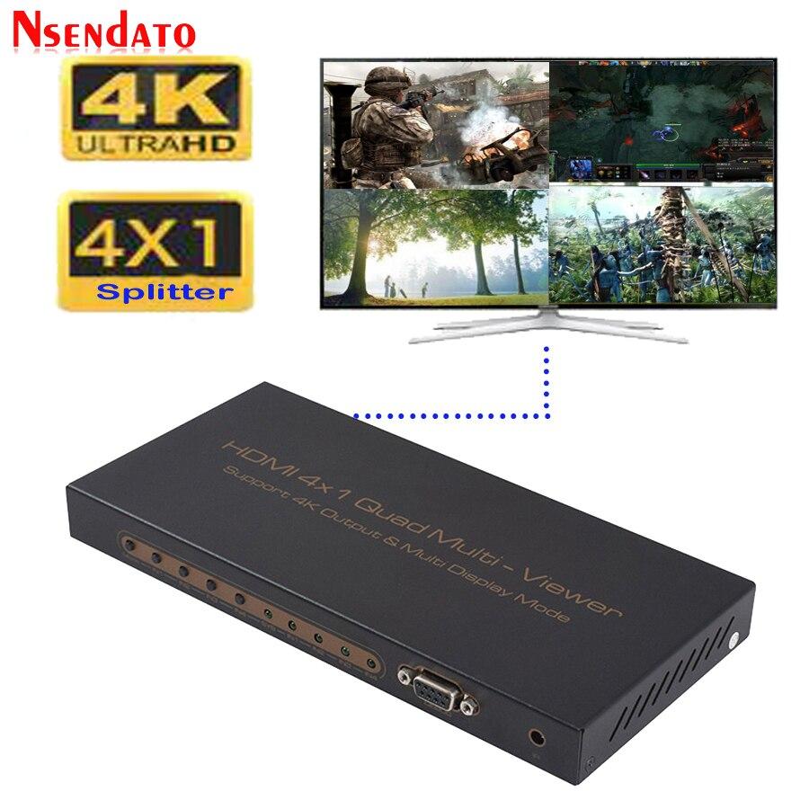 4 In 1 out 4K HDMI Splitter 4x1 Quad multi-viewer HD schermo segmentazione interruttore senza soluzione di continuità con controllo IR RS232 per HDTV DVD PS3