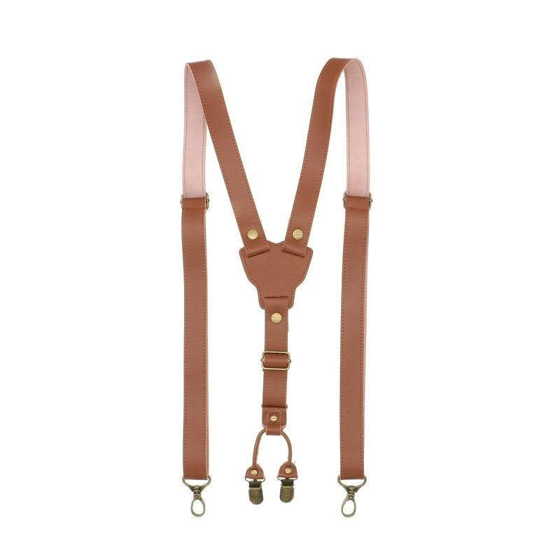 Y Back Bronze Hook British Style Mens Suspenders Vintage Adjustable Unisex Full Genuine Leather Suspender Pant Strap