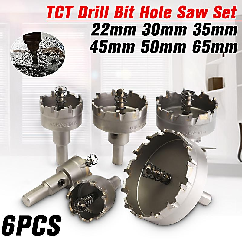 6PCS Hole Saw Tooth HSS Steel Drill Bit Cutter Tool Kit for Metal Wood Alloy US