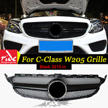 For Benz W205 ABS Material Front Bumper C-class C180 C200 C250 C300 C63AMG Without Emblem Sport Style Black Front Grille 2015-in abs material blcak color trd style front grille for 2015 2017 hilux revo