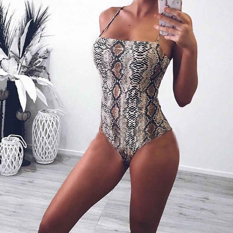 Hot Zomer Serpentine Snake Leopard Gedrukt Bodycon Een Stuk Badpak Vrouwen Bodysuit Sexy Stretch Bikini Badmode Badpak