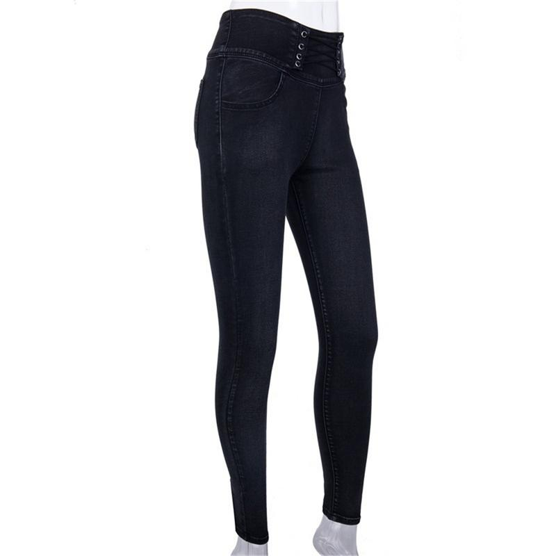 Women Back Zipper Pencil Jeans Female Stretch Solid Color Denim Skinny Pencil Pants High Waist Simple Soft Black Trousers Newly