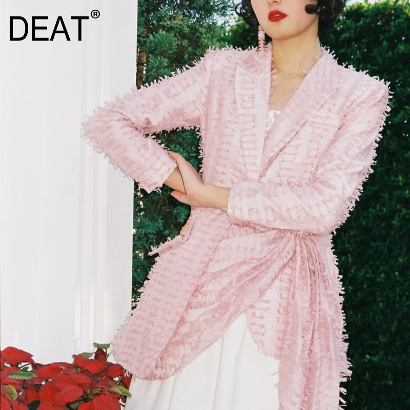 DEAT 2019 New Spring And Summer Women Fashion Clothes Turn down Collar Full Sleeves Asymmetrical Waist