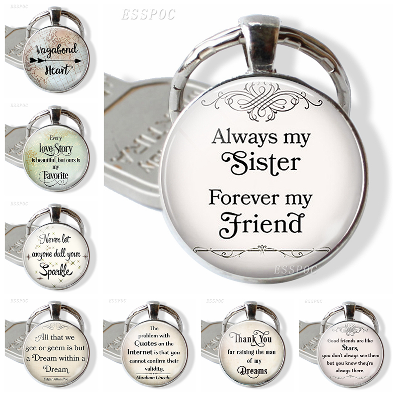 Always My Sister Forever My Friend Quote Glass Dome Cabochon Jewelry Best Friends Friendship Keychain Women Men Pendant Gift