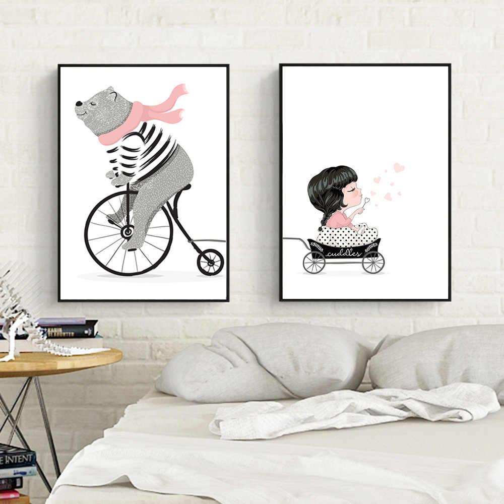 Kartun Beruang Naik Sepeda Lukisan Cat Minyak Lukisan Oleh