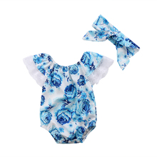 Pudcoco Toddler Newborn Kid Baby Girls Clothes Set  Floral Lace Jumpsuit Bodysuit + Bow Knot Headband Outfit