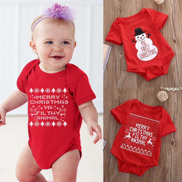f44498502af0 2019 New Xmas Rompers Baby Girl Boy Snowman My First Christmas Romper  Jumpsuit Toddler Newborn Infant One-Pieces Outfit Clothes