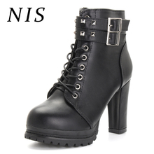 NIS Punk Rivet Knight Boots Women Shoes Woman High Heels Ankle Boots Gothic Motorcycle Platform Shoes Ladies Booties New Fashion-in Ankle Boots from Shoes on Aliexpress.com | Alibaba Group
