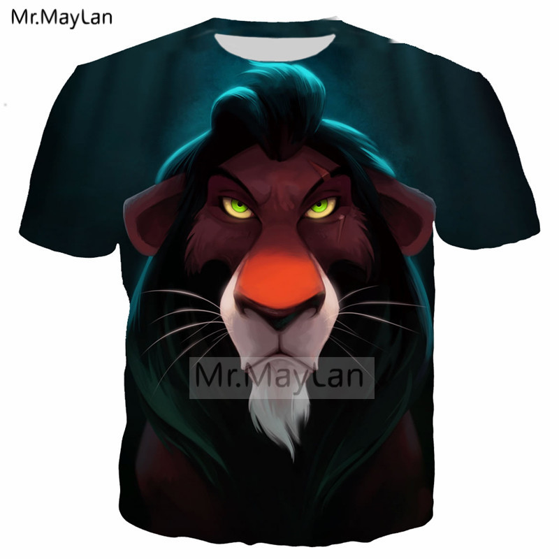 d80ed9c3 US $10.83 33% OFF|Movie The Lion King 3D Print Casual Tshirt Men/women  Hiphop Streetwear T shirt Boy Cool Hipster T shirt Clothes Oversized 5XL-in  ...