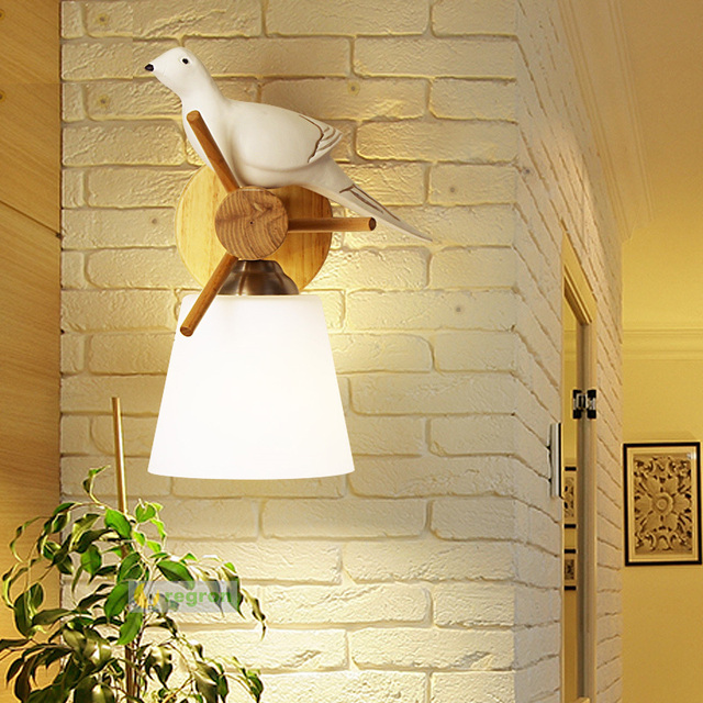 Cafe Gallery Peace pigeon wall lamp Wood Bird lights Japan style Modern Led Decorative Wall sconce wooden Living room Wall Light