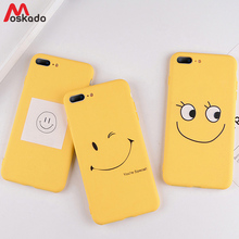 цена Moakado Yellow Phone Case For iphone 6 6s 7 8 Plus  X XS Max XR 5 5s SE Soft TPU Cover Cartoon Funny Fresh Letter YES Smile Case