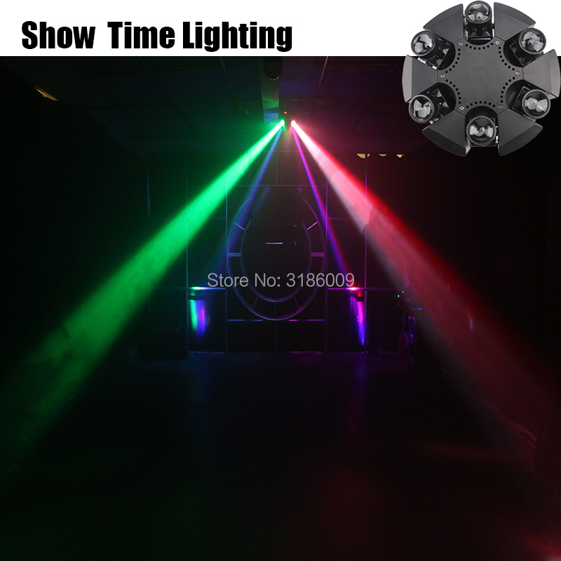 New Arrival 6 Arms Led  Beam Moving Head Spot Wash 6* 10W RGBW 4 In 1 Stage Effect DMX 512 Control KTV Party Lite Home Entertain