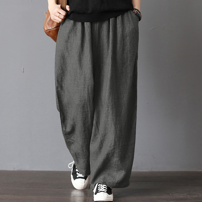 Women Plus Size Cotton Linen Baggy   Pants   Women Loose   Wide     Leg     Pants   With Pocket Ladies Casual Summer Autumn Baggy Harem Trousers