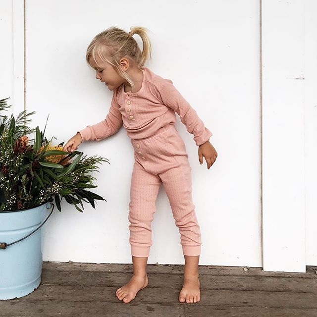 Kids Long John Pajamas Set Buttons Decor Top And Pant For Girls Clothes