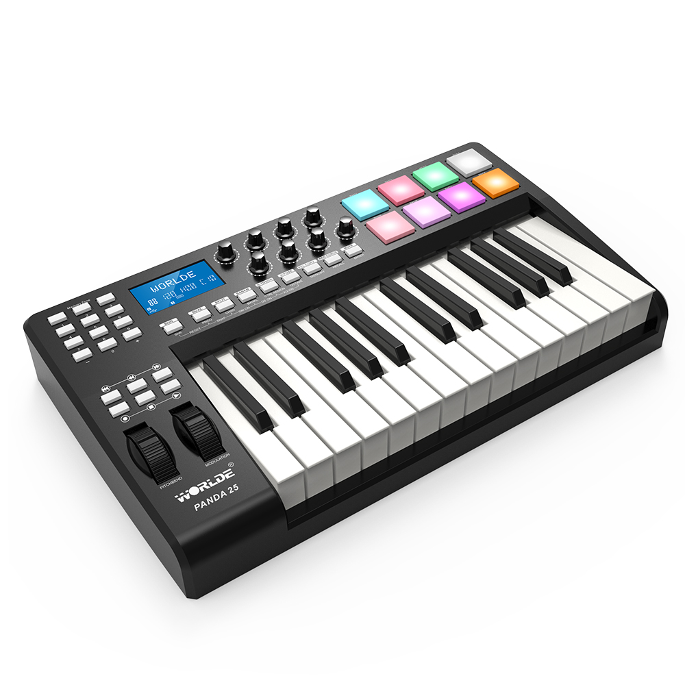 panda25 25 key ultra portable usb midi keyboard 8 drum pads controller with usb cable in piano. Black Bedroom Furniture Sets. Home Design Ideas
