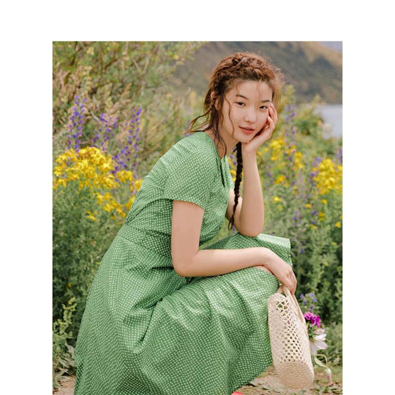 Инман 2019, летнее Новое поступление, хлопковое приталенное платье с v-образным вырезом, ТРАПЕЦИЕВИДНОЕ ретро платье, женское платье