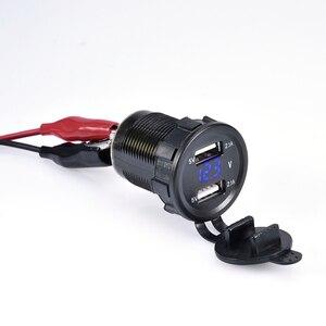 Автомобильный мотоцикл DC 12 V/24 V двойной порт автомобильное зарядное устройство USB вольтметр 4.2A розетка питания для Ipad Iphone Автомобильные Лодки мобильные телефоны Светодиодная лампа