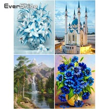 Evershine Diamond Embroidery Full Display Flowers Mosaic Scenery Picture Of Rhinestones Painting Cross Stitch