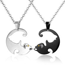 Couples Necklaces Black White Cat Necklace Stainless Steel Animal Pendants Jewelry 1pair