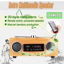 Multimedia Speaker Classical Receiver Retro Vintage Radio Super Bass FM Radio Bamboo USB With MP3 Player