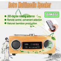 Multimedia Speaker Classical Receiver Retro Vintage Radio Super Bass FM Radio Bamboo USB With MP3 Player Remote Control
