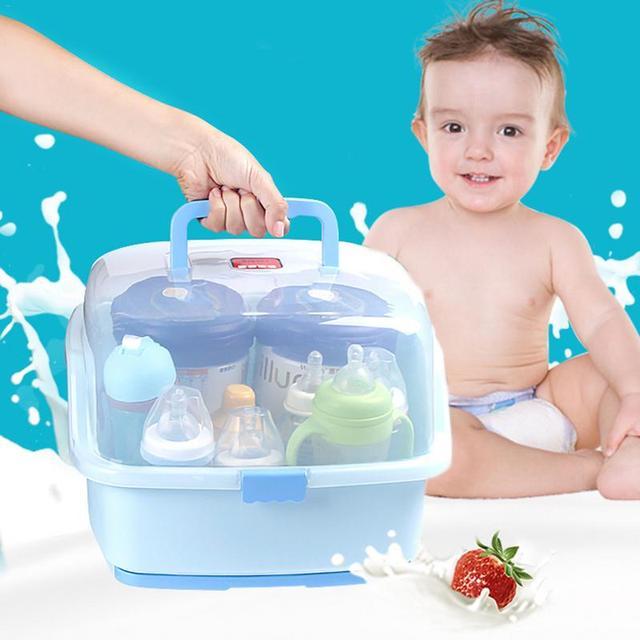 Baby Portable Plastic Milk Bottle Storage Box With Bottle Drying Rack Dinnerware Dustproof Organizer Baby Food Container Box