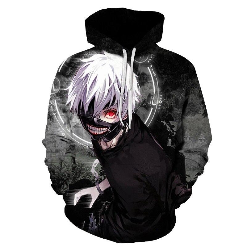 Anime 3D Sweatshirts Men/women Tracksuits Tops Print  Hooded Anime Tokyo Ghoul Kaneki Ken 3D Hoodies Thin Autumn Sweatshirts