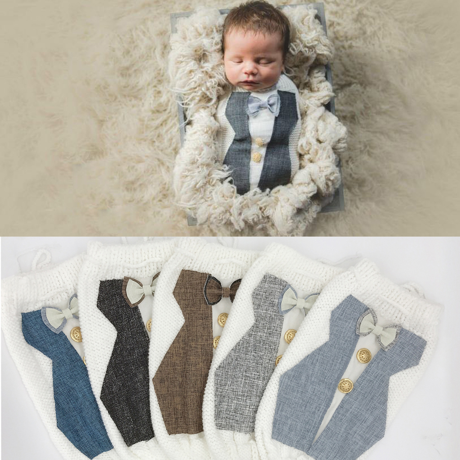 Newborn Photography Props	Accessories Baby Photography Clothes Creative Knitted Crochet Bags Baby Photo Prop Infant Sleeping Bag