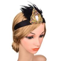 Silve Feather Headband Women Hair Accessories Wedding Hairband Ladies Vintage Gold Headwear Rhinestone 2019 New High Quality
