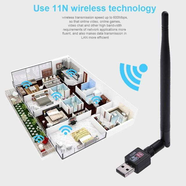 ALLOYSEED 600MBPS USB 2.0 High Speed Wifi Router Wireless 802.11 N Adapter Network LAN Card w/5dBI Antenna for Desktop Computer 2