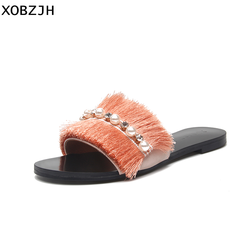 2019 Women Shoes Luxury Handmade Buckle Feather Flat Sandals Ladies Summer Fashion Party Champagne Gold Slippers Plus Size US112019 Women Shoes Luxury Handmade Buckle Feather Flat Sandals Ladies Summer Fashion Party Champagne Gold Slippers Plus Size US11