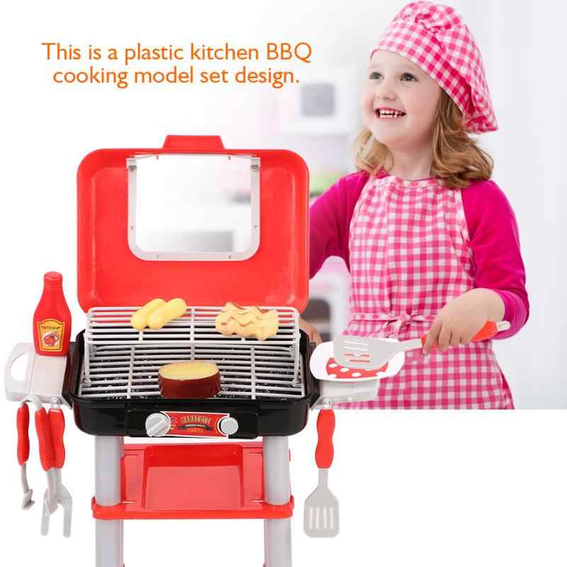 Kids Kitchen Set Children BBQ Grill Cooking Toys Set Barbecue Playing Pretend Role Play Toy Children Girls Games
