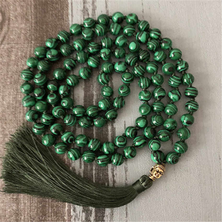 6MM108 зелёные малахитовые бусины ожерелье цепочка чакас браслет Горячие вены мала Йога, медитация ручной работы натуральный молиться