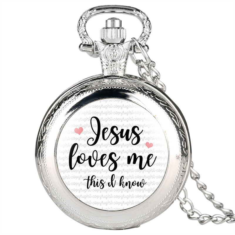 Jesus Love Me Series Quartz Pocket Watch Analog Pendant For Men Women Special Pocket Watches Unisex Pendant Watch Link Chain