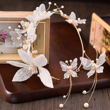 Korea Fashion Flower Girl Hair Accessories Wedding Hairband White Flower Crown Tiara and Earring Bridal Headband Lace Headpiece(China)