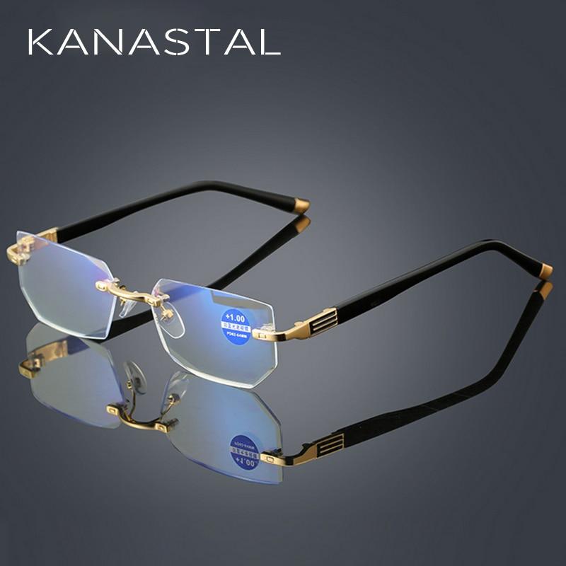 Gutherzig Anti Blue Ray Lesebrille Frauen Dimond Schneiden Randlose Brillen Männer Anti Müdigkeit Hyperopie Presbyopie Brille + 1,5 Professionelles Design
