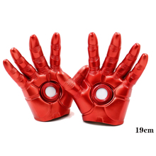 2019 Action Figure Superhero Iron Man Mark 3 Gloves Cosplay with LED Light PVC The Avengers Alliance Marvel Superhero Toy Gift the avengers iron man helmet cosplay touch sensing mask with led light marvel superhero iron man adult motorcycle abs helmet