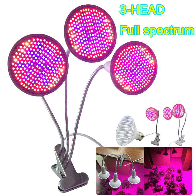 3-Head 200 Full Spectrum LED Plant Grow Light Lamp Clip Veg UV IR E27 For Indoor Hydro Room Seeding Bulb Flower Greenhouse Tent