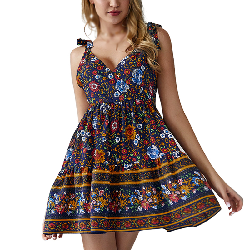 Women Deep V Sling dress Floral Boho ethnic holiday beach wear Straps DressCocktail Party Mini ladies dresses summer vestido