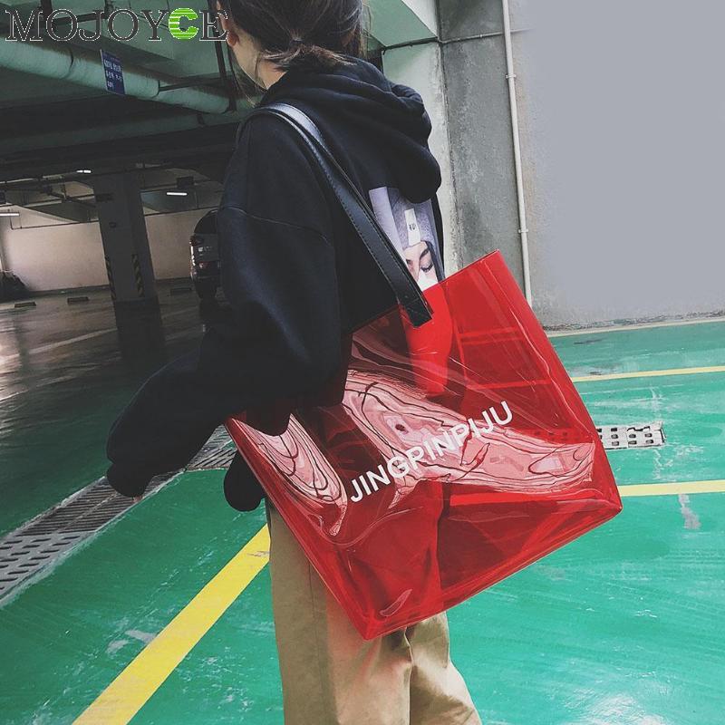 c33e45df3f9c 2019 прозрачная сумка из ПВХ пляжная сумка женская новая трендовая сумка  Горячая Распродажа яркие цвета прозрачный