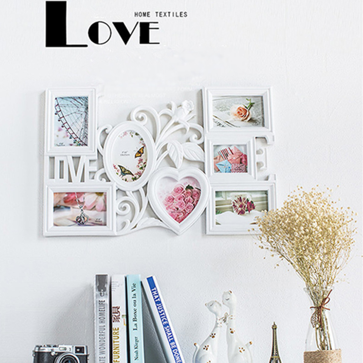 Rectangle Photo Frame Love Wall Sticker Hanging DIY Art Picture Frame Art Craft Home Decor Hollow Family 3D Photo Frame White