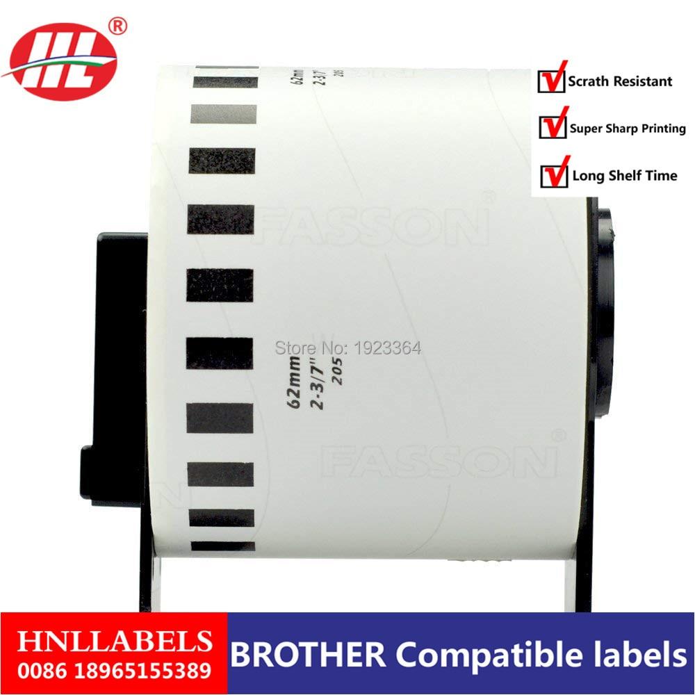 10X Rolls Brother Compatible Labels DK-22205 Dk 22205 Dk22205 +1 Reusable Black Cartridge Continuous Labels 62mm X 30.48M