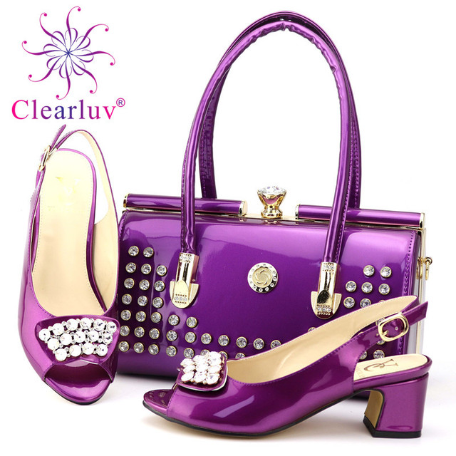 New Arrival Rhinestone Women Wedding Shoes and Bag Set Italian Shoes and Bags  Set for Wedding Fashion Shoes 2019 Women Shoes e97abe131aed