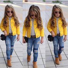 Детская джинсовая куртка новая детская верхняя одежда для маленьких девочек, пальто, джинсы однотонные желтые топы с рукавом три четверти для девочек от 1 до 6 лет